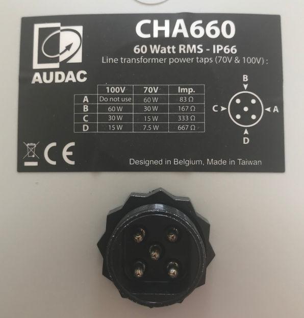 CHA660 Audac CHA660 baksida chassikontakt