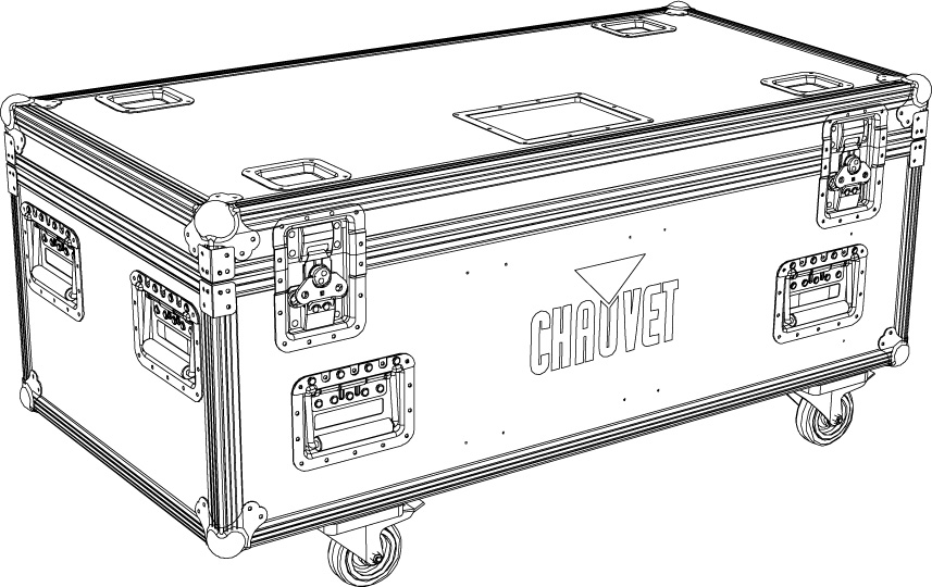 TC 8xCOLORBAND PIX IP Flightcase i standardformat, anpassad för 8 x Chauvets IP-klassade LED-ramper (Colorband PIX IP)